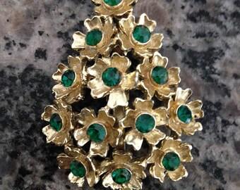 Flower Tree Brooch with Green Rhinestones