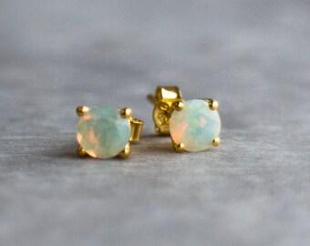 Opal Stud Earrings, 14K Gold, Fine Jewelry, Solid Gold Earrings Studs, Fire Opal Jewelry, October Birthday Gift for Her, Welo Opal Ear Studs