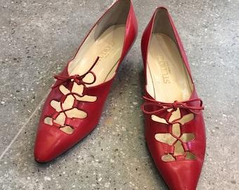 Vintage Studio 27 Red Leather Lace Up Pumps Heels, 80s Women Shoes