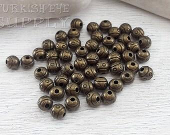20 pc, Tribal Ball Beads, Mini Ball Beads, Bronze Spacer Beads, Ball Beads, Tribal Bead Spacer, Bronze Beads, Bronze Ball, Bracelet Beads