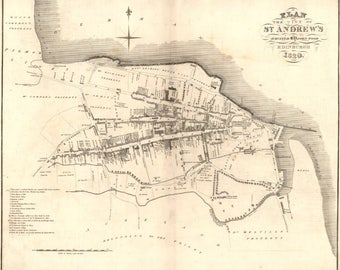 Old Map of St. Andrews | Fine Art Print | Antique town survey in Fife, Dundee, St Andrews University,  from 1820