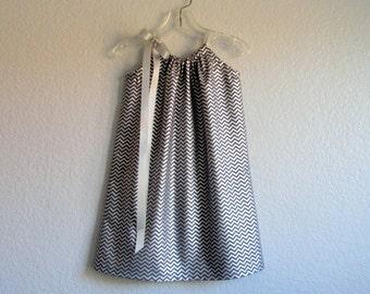 Girls Silver Pillowcase Dress - Metallic Silver and Grey Stripes - Chevron Stripe Party Dress - Sizes 12m, 18m, 2T, 3T, 4T, 5, 6, 8 or 10
