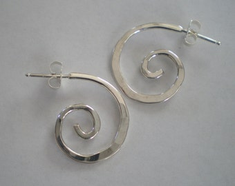 Handmade Sterling Silver Spiral Post Earrings