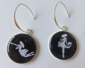 """Mismatched earrings """"Little black dress"""""""