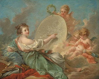 "Francois Boucher : ""Allegory of Painting"" (1765) - Giclee Fine Art Print"