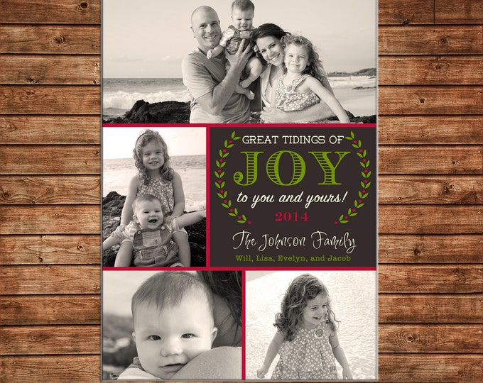 Photo Picture Christmas Holiday Card 4 photos wreath Joy elegant - Digital File