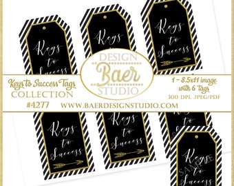 Black and Gold Keys to Success Printable Tags:College Graduation Tags, Graduation Party Favor, Graduation Tags, Retirement Party Tag, #4277
