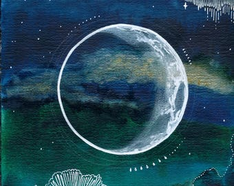 Crescent Moon Print Art Poster 11x17
