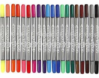 Felt Tip Marker Pens - Double Tip Water Based - Fine Medium - Pack of 20 Colours - Fine Medium