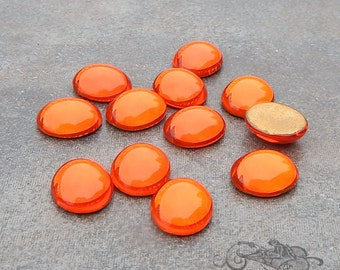 Vintage Cabochons - 10x12 mm Hyazinth or Hyacinth Orange - 6 West German Glass Stones