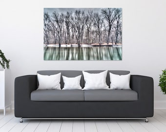 Winter Trees on Frozen River Photo Print | Wall Art | Nature and Landscape Photography | (5x7, 8x10, 12x18, 16x24, 20x30, 24x36, 40x60)