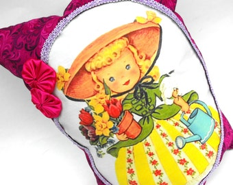 Mary Quite Contrary Pillow Handmade Decorative Little Girl's Room Decor Garden Baby Nursery Rhyme Cushion Hand-Sewn Satin Rosettes & Pocket