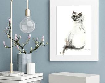 Minimalist cat painting, Original Watercolor Painting of cat, grey minimalist cat painting