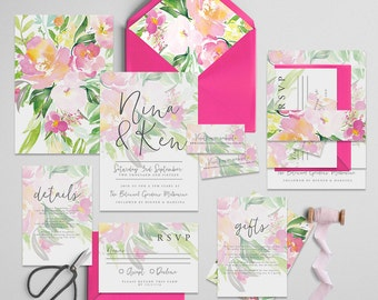 "Printable Wedding Invitation Suite ""Sweetly Floral"" - Printable DIY Invite, Affordable Wedding Invitation"