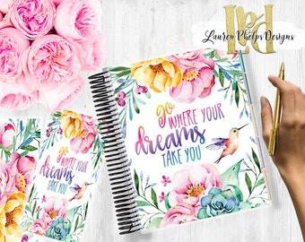 Planner Cover, Laminated 10mil, for use with, Erin Condren , Happy Planner, Summer, Watercolor, Floral, Dreams, Hummingbird, 067