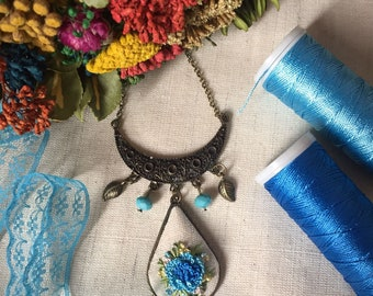 Embroidered Necklace Floral Pendant Blue Flowers Handmade Ready to be shipped