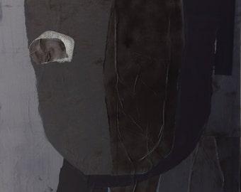 "Original Large Abstract Paper Collage Art, Contemporary Portrait, Mixed Media Artwork, 51"" x 59"", Loft Art"
