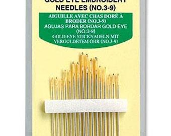 Clover Gold Eye Embroidery Needles No. 3 - 9 Part No. 235