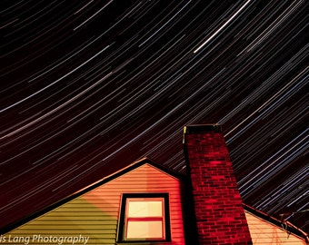 Star trails over Roof