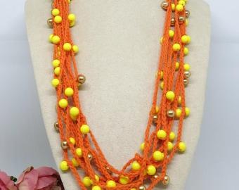 Orange Yellow Gold Crochet Cotton Necklace, Crochet Necklace, Multi Strand Crochet Handmade Necklace , OOAK , Wearable Art Boho Jewellery