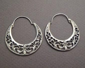 Coin silver hoop earrings