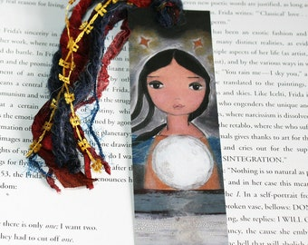 Sailing with the Moon in my Heart - Laminated Bookmark  Handmade - Original Art by FLOR LARIOS