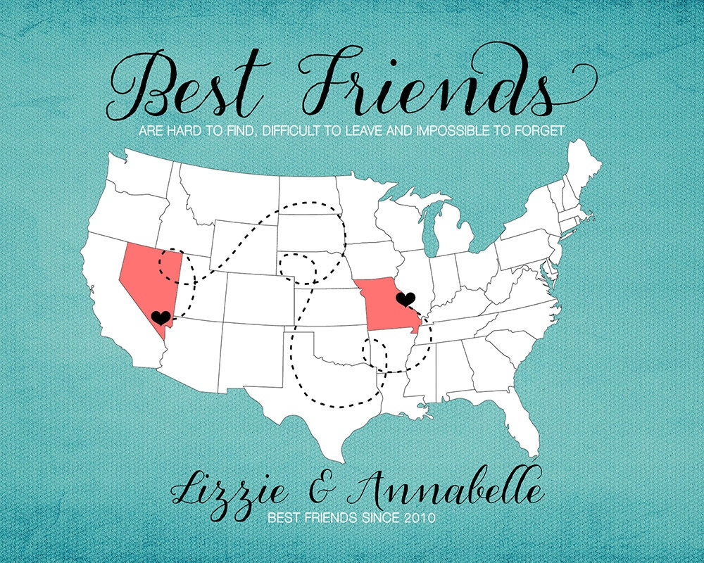 BFF Gift For Best Friend Moving Away Gift Print Long