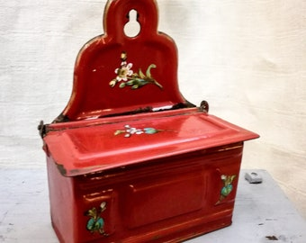 Antique French enameled allumettes match box container red hand painted flowers Etoile PEN early 1900's, antique french enameled matchbox