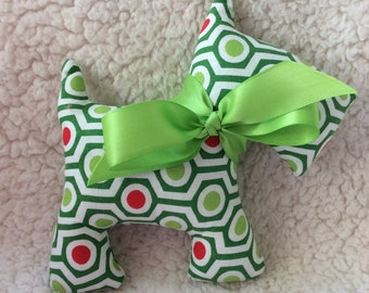 Stuffed Scotty Dog - plush- lime Green, green, red hexagons