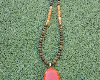 Long Orange Glass Pendant & Brown Wood Bead Necklace