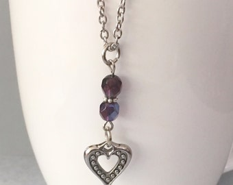 Heart necklace, purple necklace, pendant necklace, purple bead necklace, charm necklace, chain necklace, purple beaded necklace