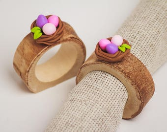 Easter napkin rings set of 12 wood Rustic table decor Spring Bird's Nest easter centerpieces Colorfull Eggs charm Easter napkin holders gift