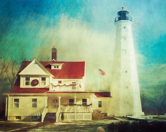 Lighthouse Decor, Lighthouse Art, North Point Lighthouse, Nautical Decor, Large Wall Art Print, Milwaukee, Wisconsin, Home Decor, Lakeshore