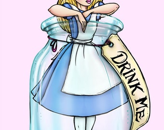 Drink Me Alice in Wonderland A4 Art Print by Hungry Designs
