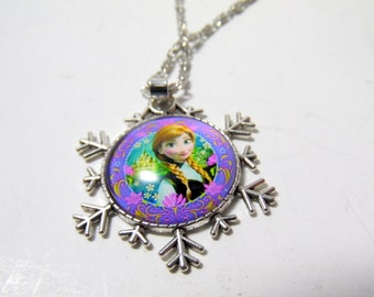 """Artisan made glass cabachon necklace Elsa from Frozen in snowflake bezel.  18"""" chain"""