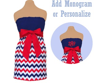 Red + Navy Chevron Dress