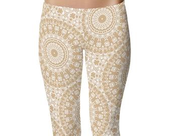 Leggings for Yoga, Cream Leggings, Tan Mandala Yoga Pants, Bohemian Art Tights