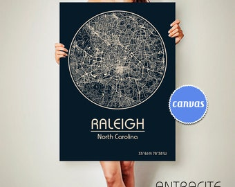 RALEIGH North Carolina CANVAS Map Raleigh North Carolina Poster City Map Raleigh North Carolina Art Print Raleigh North Carolina