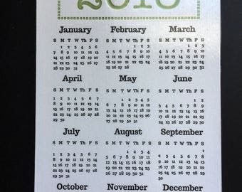 2018 Fridge Magnet Letterpress Calendar
