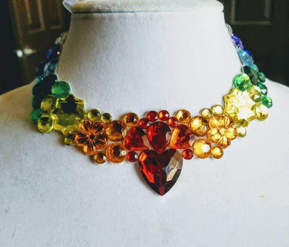 Chakra -rhinestone bling necklace, illusion necklace, rhinestone bib, floating necklace, rhinestone statement necklace