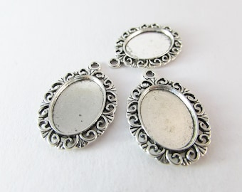 Cabochon setting pendant antique silver 13x18mm