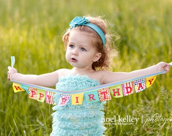 Happy Birthday Banner Circus Theme highchair banner, photo prop mini party banner Birthday decoration