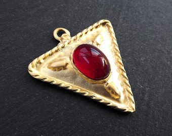 Tribal Triangle Geometric Pendant with Red Glass Accent Rustic Cast - 22k Matte Gold Plated