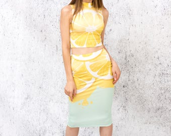 Lemons yellow top with skirt freshly squeezed fruit print summer set juicy dress