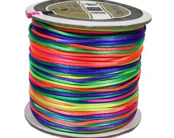 BeadTin Rainbow 1mm Nylon Rattail Cord (75m)