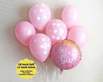 It's A Girl Balloon Bouquet - Girl Baby Shower Decor Gold Glitter It's A Girl Script Balloons Pink Gold Baby Shower Decorations Latex Foil