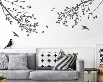 Branches with Leaves and Birds One-Color Wall Decal - WAL-2114A