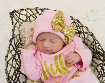 Gold Bow Pink Newborn Girl hat, newborn baby hat, pink newborn hat, new baby hat, baby girl hat, take home hat, newborn photo prop, #Newborn