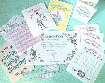 Pretend Play BRINGING HOME BABY Printables- Instant Pdf Download- little mommy, dolls, record book, feeding chart, birth certificate, cards