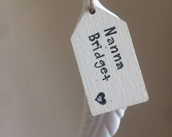 White Porcelain Feather with wooden handstamped tag